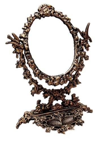 Iwgac Home Indoor Decorative Seasonal Collectibles Ornaments Cast Iron Mirror With Stand front-786340