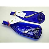 2 Piece Set of Cobalt Blue Recycled Slumped Glass Wine Bottle Serving Dishes, Triangle Dip Dish & Flat Cheese Platter, Silverware included.