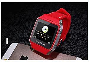 GPS Smart Watch Uwatch Bluetooth WristWatch Pedometer Phone Mate SMS Music Display for IPHONE Samsung Android Smartphones-RED
