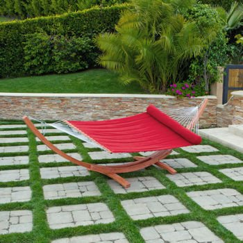 Deluxe Sunbrella Arc Wood Hammock in Red Jockey