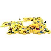 City Puzzle School Bus 15 Piece Toy Vehicle Playset W/ Battery Operated Toy Car, Accessories, Interc