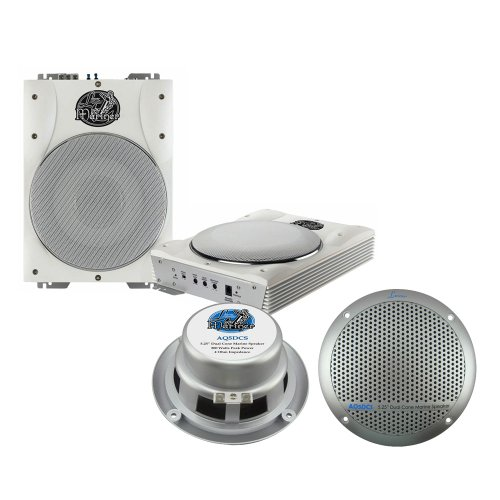 Lanzar Marine Amp Woofer And Speaker Package - Aqtb8 8'' 1000 Watts Low-Profile Super Slim Active Amplified Marine/Waterproof Subwoofer System - Aq5Dcs 300 Watts 5.25'' Dual Cone Marine Speakers (Silver Color) (Pair)