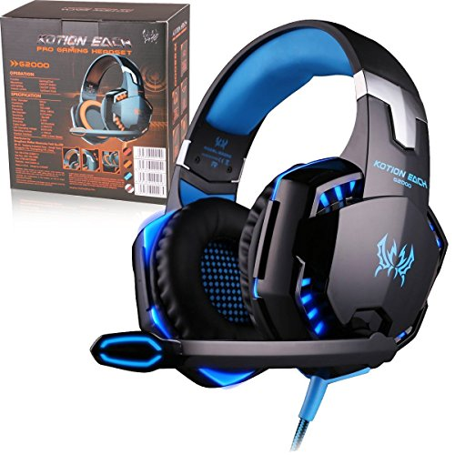 BMOUO 3.5mm Stereo Gaming LED Lighting Over-Ear Headphone with Mic for PC Computer Game With Noise Cancelling & Volume Control, Blue (G2000)