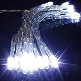 SOLMORE 2M Guirlande Lumineuse 20 LED avec Boîte de Pile pour Noël,Fête,Mariage,Anniversaire,Soirée Décoration de Maison/Jardin/Voiture/Vélo (Blanc Froid)...