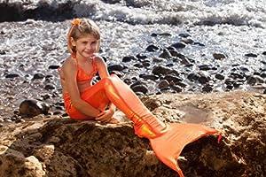 Mermaid Tail for Swimming and Costume (Medium: age 8 - 10, Orange)