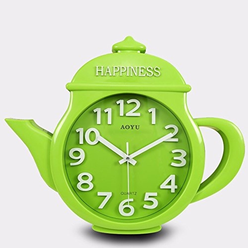 WYMBS Modern creative living room wall clock 14 inch,Light green