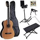 ADM Full Size Beginner Kits Nylon-String Classical Guitar with Gig Bag, E-tuner, Footstool, stand, Capo, Extra strings, Starter Pack, Student Bundle