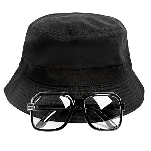80s Hip-Hop Run DMC Costume Kit. INcludes hat and glasses. Add a Run DMC shirt.