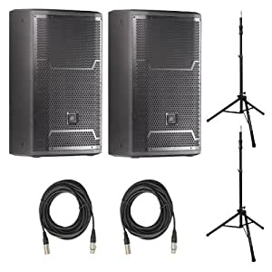"""JBL PRX 712 12"""" 2-Way Powered Speakers (Pair) with Stands & Cables Bundle"""