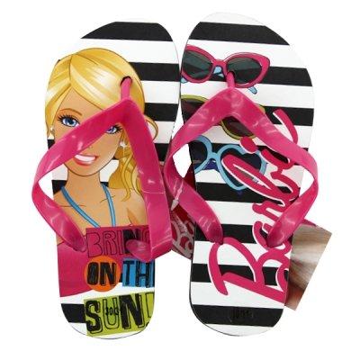 Girls BARBIE Flip Flops - Licensed Merchandise -BLACK