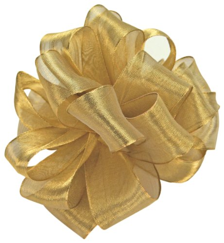 Offray Wired Edge Magic Wand Metallic Sheer Craft Ribbon, 7/8-Inch Wide by 50-Yard Spool, Gold
