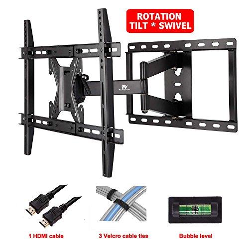 Mounting Dream® Md2295 Tv Wall Mount Bracket With Full Motion Articulating Arm For 42-70 Inches Led, Lcd And Plasma Tvs Up To Vesa 600X400Mm And 78Lbs, With Tilt, Swivel, And Rotation Adjustment, Including 6 Ft Hdmi Cable And Magnetic Bubble Level (For Sa