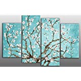 "Large Duck Egg Blue Blossoming Tree Canvas artwork 4 pieces multi panel split canvas completely ready to hang hanging cord attached, hanging template included for easy hanging, hand made printed to order UK company 40"" width 28"" height"