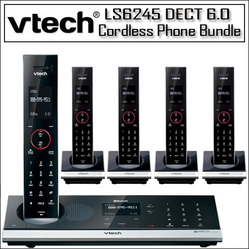 VTech LS6245 DECT 6.0 Touch-Sensitive Bluetooth Expandable Cordless Phone System with Four LS6204 Accessory Handset