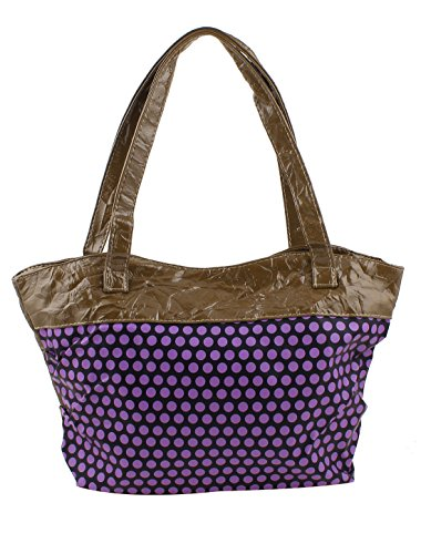 Purple Nylon Inner Women Dot Pattern Zip Up Faux Leather Handbag Brown