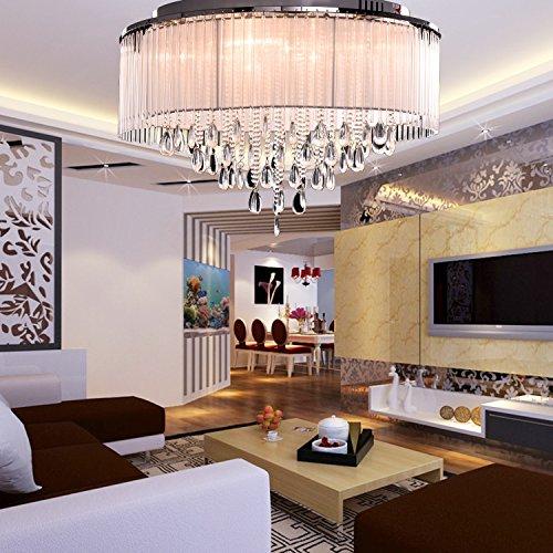 oofay light moderne kristall deckenleuchte zylinder schatten mit crystal drop flush mount f r. Black Bedroom Furniture Sets. Home Design Ideas