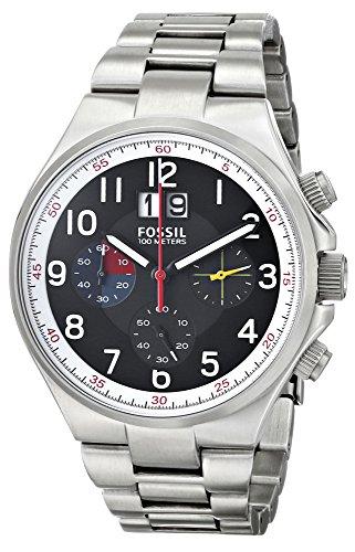 Fossil CH2909 - Reloj con correa de cuero para hombre, color negro / gris