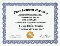 Dance Instructor Teacher Degree- Custom Gag Diploma Doctorate Certificate (Funny Customized Joke Gif