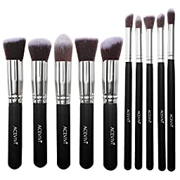 ACEVIVI Classic Black 10 pcs Essential Kit Makeup Brush Set Foundation Kabuki Powder Blush Concealer Kit with Case