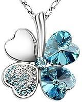 "Swarovski Elements Crystal Four Leaf Clover Pendant Necklace 19"" With A Gift Box-CN9034HL"