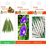 Alkarty Ridge Gourd, Morning Glory And Daikon Seeds Pack Of 20