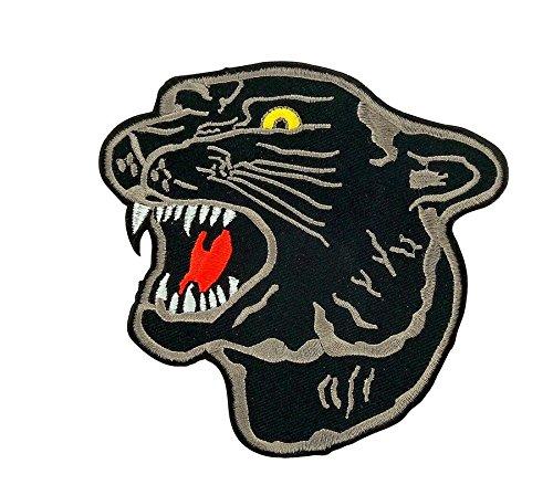 Toppa ricamata termoadesiva, motivo: pantera nera, per zaino