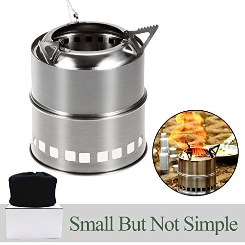 Soloom Portable Stainless Steel Wood Burning Camping Stove for Outdoor Cooking Picnic Barbecue and Survival (Hiking Stove Wood compare prices)
