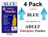 4 PK VAS BLUE EMERGENCY HOODED RAIN PONCHO -W VAS EMERGENCY POUCH