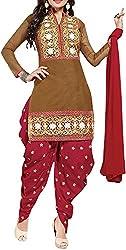 VIDA Women's Cotton Salwar Suit Material (Brown)