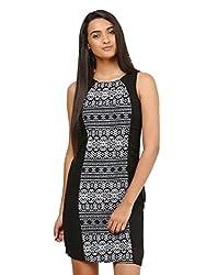 Mayra Women's Georgette Dress (1604D19307_XL Black )