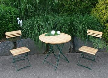 3-teiliges Biergartenset Munchen, Stahlgestell grun + Robinie