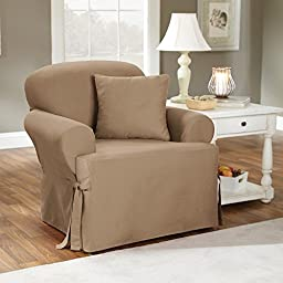 Sure Fit Duck Solid T-Cushion - Chair Slipcover  - Natural (SF28609)