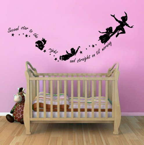 Peter Pan Second Star To The Right Childrens Wall Sticker Mural For Kids Bedroom 100X55 Black front-48602