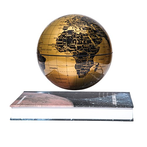 "woodlev Magnetic Maglev Levitation Levitron Floating Rotating 6"" Globe Gold & Blue Book Style Platform Lreaning Education Home Decor (Gold) 0"