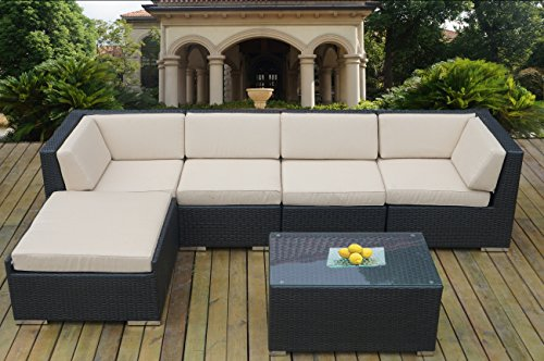 Ohana Collection 6-Piece Outdoor Patio Wicker Sofa Set, Beige photo