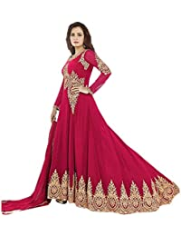 ARYAN FASHION Designer Beautiful Pink Embroidered Long Anarkali Suit Semi-Stitched Suit ( Bottom Unstitched)