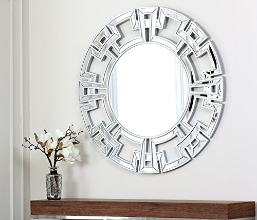 Abbyson Living Zentro Round Wall Mirror, Silver