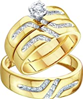 Men's Ladies 10K Yellow Gold 0.28 Ct. Round Diamond Engagement Ring Wedding Band His Her Trio Bridal Set by RNYJ