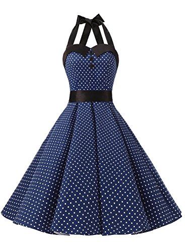 Dressystar Vintage Polka Dot Retro Cocktail Prom Dresses 50's 60's Rockabilly Bandage Navy XS