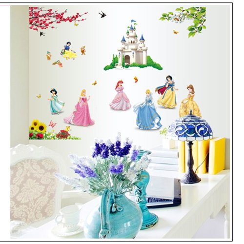 Gadfly- Peel & Stick Nursery/baby Wall Sticker Decal (Castle and Snow White)