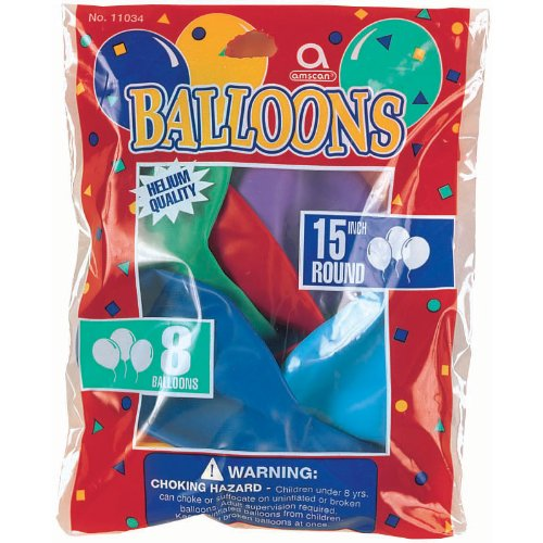 "15"" Round Assorted Color Balloons Latex Helium Quality Pk of 8"
