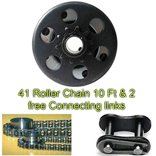 Go Kart Mini Bike 10T Centrifugal Clutch 3/4 41/420 & 10 Feet Roller Chain #41 With 2 Free Connecting Links. 165-046 MB165 MB200 .- House Deals (420 Centrifugal Clutch compare prices)