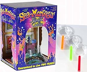Sea Monkey Magic Castle_with Set of 3 BONUS Mini Magnifying Glass Bundle Kit