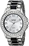 XOXO Women's XO5405  Silver-tone/Black Epoxy Bracelet With Rhinestones Accent Watch