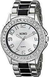 XOXO Women's XO5405  Silver-tone/Black Epoxy Bracelet With Rhinestones Accent Watch