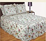 Designer Single Bed Hayley Country Cottage Floral Quilted Bedspread Set Quilted Comforter Throw