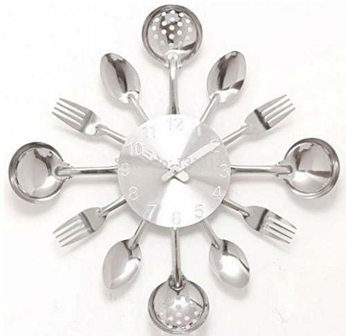 A001 Wall Clock Knife Fork Spoon Originality Clock Kitchen Restaurant The Wall Decoration Quartz Metal Times Mute Hour