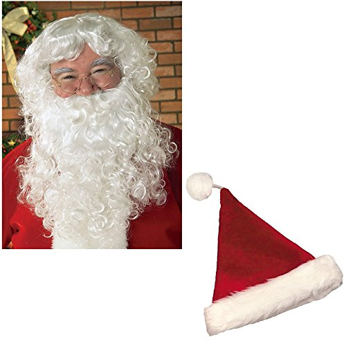 Christmas Santa Kit Including 1 Santa Hat, Beard and Wig - Adult, One Size