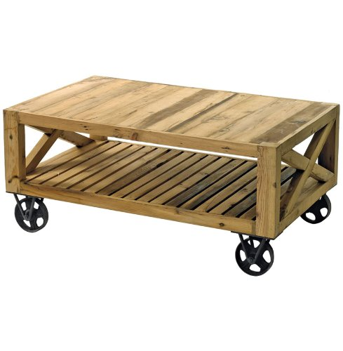 Chatham Solid Chunky Reclaimed Wood Cart Coffee Table from Kathy Kuo Home