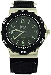 Terrain Mens Black Boardrider Sports Surf Watch-Velcro Strap+Rotating Bezel-50m Water Resitant-970g